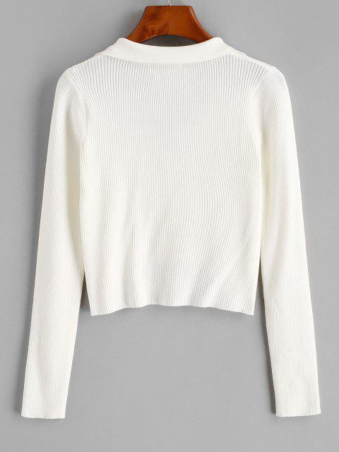 chic Ribbed V Notch High Low Crop Cardigan - MILK WHITE S Mobile