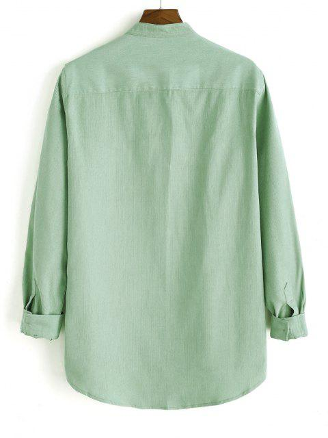 buy High Low Solid Pocket Patch Long Sleeve Shirt - LIGHT GREEN 2XL Mobile