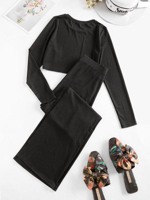 affordable ZAFUL Rib Knit Side Slit Two Piece Pants Set - BLACK M Mobile