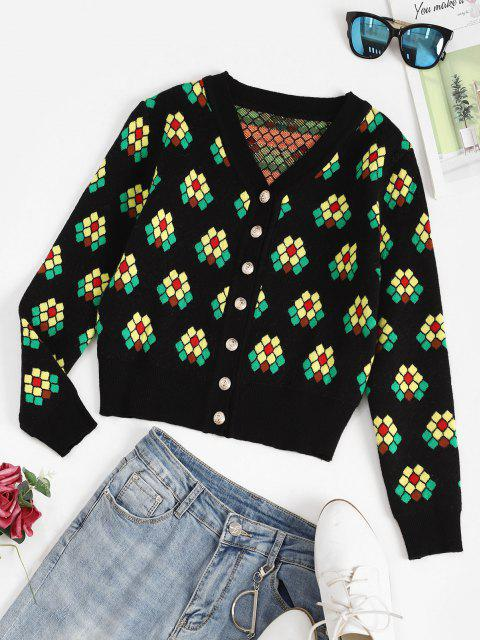 buy Geo Graphic Button Up Cardigan - DEEP GREEN ONE SIZE Mobile