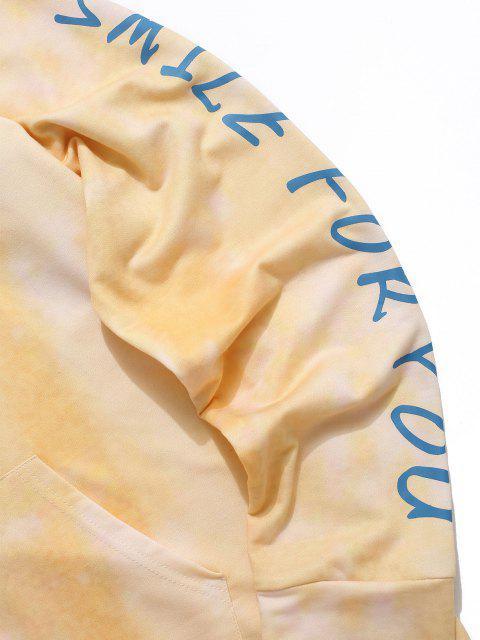 Lächeln für Kittel Krawattenfärbende Hoodie und Hose Zweiteiler Set - Gelb L Mobile