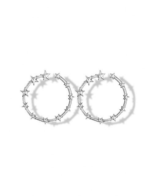 shops Star Circle Shape Alloy Earrings - SILVER  Mobile