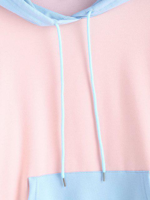 Lazo del Bolsillo Canguro con Sudadera con Capucha Colorblock - Multicolor M Mobile