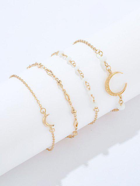 latest Crescent Geometric Shape Bracelets Set - GOLDEN  Mobile