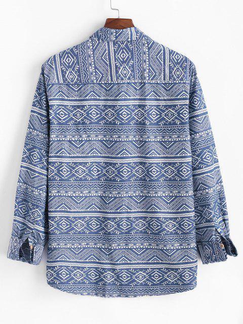 ladies Tribal Geometric Pattern Pocket Patch Long Sleeve Shirt - BLUE 2XL Mobile