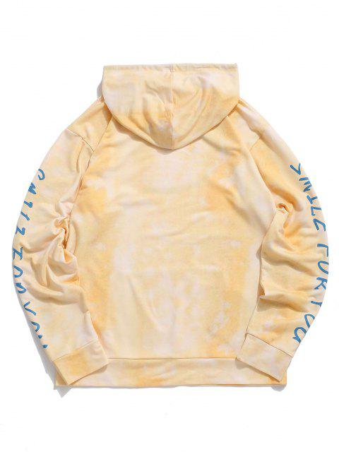 unique Tie Dye Smile For You Print Hoodie - YELLOW 2XL Mobile
