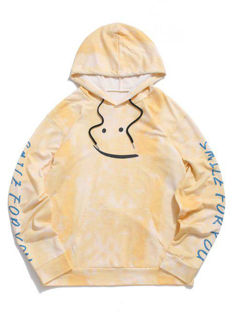 fashion Tie Dye Smile For You Print Hoodie - YELLOW S Mobile
