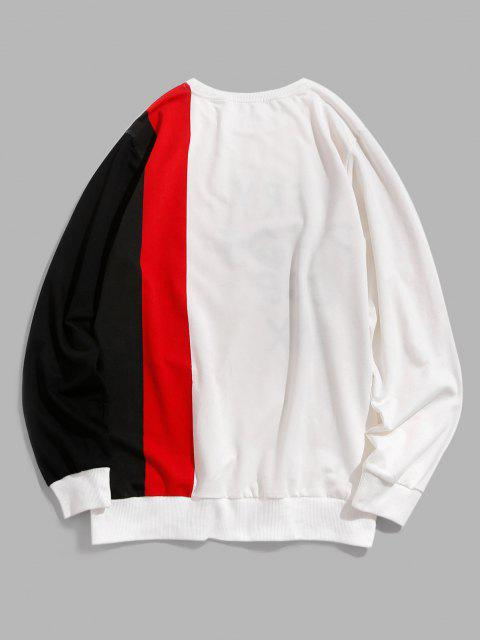 outfit ZAFUL Letter Print Colorblock Panel Sweatshirt - WHITE S Mobile