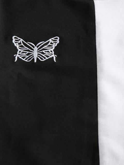 unique ZAFUL Two Tone Butterfly Embroidered Biker Shorts Set - BLACK L Mobile