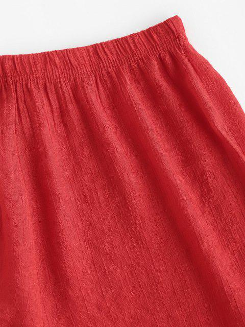 unique Semi-sheer Ruffled Beach Shorts - RED ONE SIZE Mobile