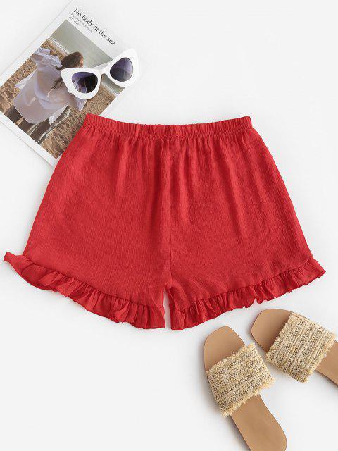 Halbtransparente Strand Shorts mit Rüschen - Rot Eine Größe Mobile
