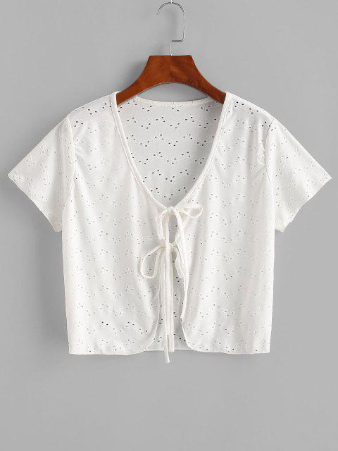 buy Tie Knot Eyelet Cover-up Top - WHITE ONE SIZE Mobile