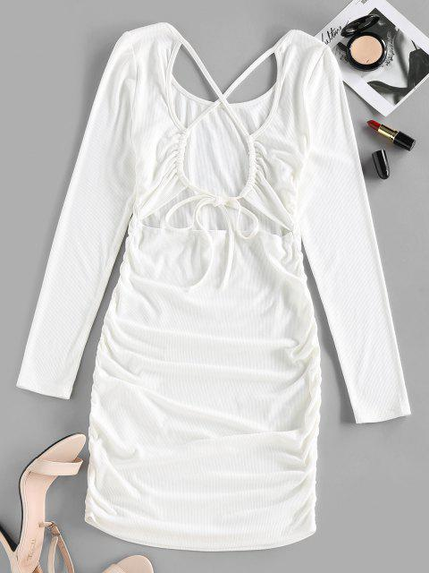 trendy ZAFUL Ribbed Crisscross Ruched Bodycon Dress - WHITE S Mobile