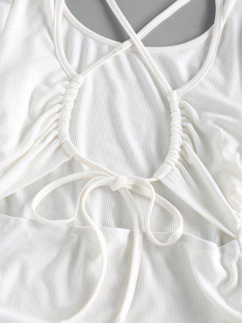 ZAFUL Robe Moulante Croisée Côtelée à Volants - Blanc S Mobile