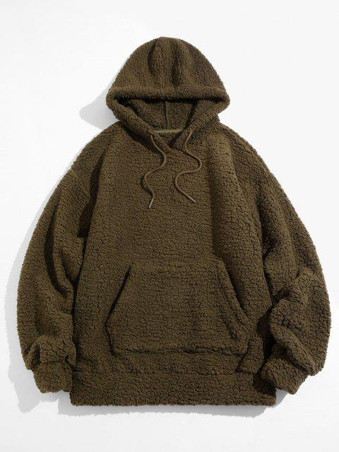 chic Fluffy Solid Kangaroo Pocket Hoodie - DEEP GREEN S Mobile