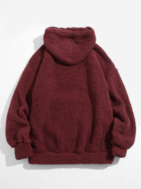 online Fluffy Solid Kangaroo Pocket Hoodie - DEEP RED S Mobile
