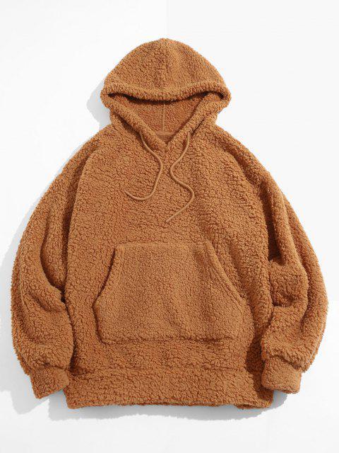 chic Fluffy Solid Kangaroo Pocket Hoodie - DEEP YELLOW M Mobile