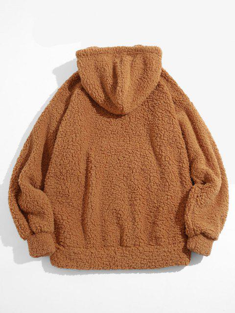 women Fluffy Solid Kangaroo Pocket Hoodie - DEEP YELLOW L Mobile