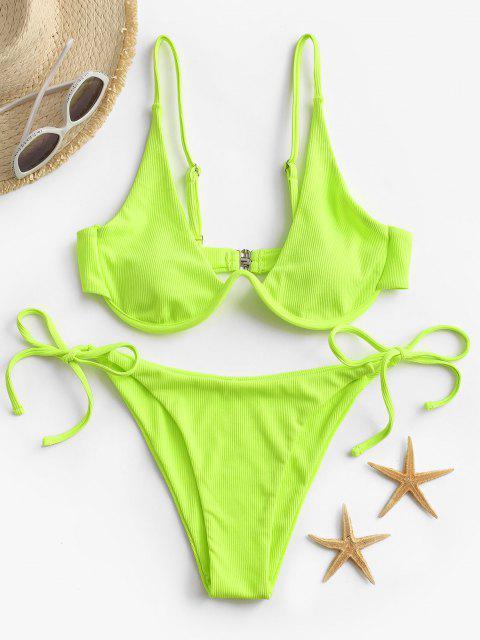 Bikini Annodato a Costine con Ferretto di ZAFUL - Verde M Mobile