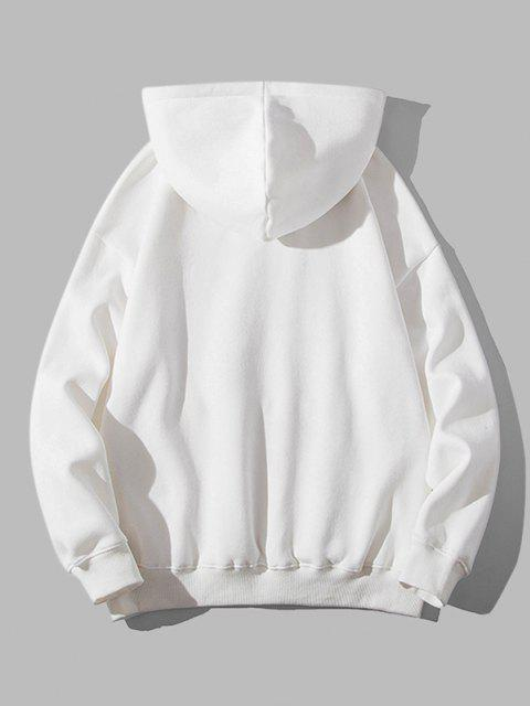 buy Letter Graphic Print Kangaroo Pocket Hoodie - WHITE XL Mobile