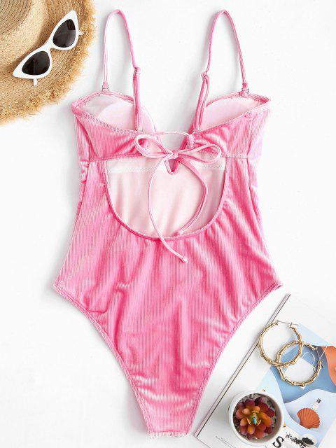 ladies ZAFUL Ribbed Velvet V Wired One-piece Swimsuit - HOT PINK L Mobile