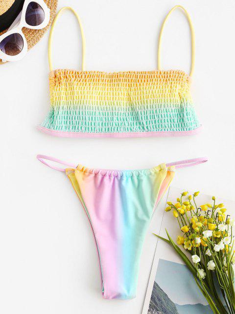 affordable ZAFUL Smocked Rainbow Ombre String Bikini Swimwear - MULTI L Mobile