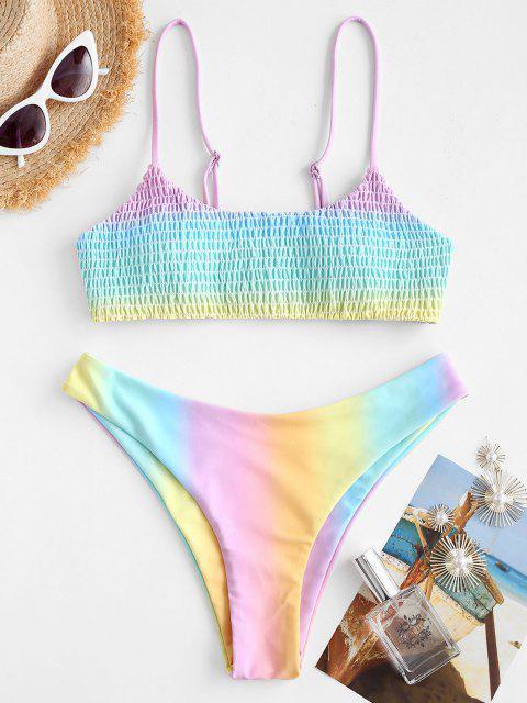 buy ZAFUL Ombre Smocked Bralette Bikini Swimwear - MULTI S Mobile