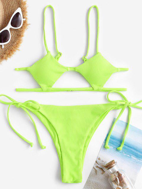 ZAFUL Gerippter Samtförmiger Bikini Badebekleidung mit Hohem Bein - Grün S Mobile