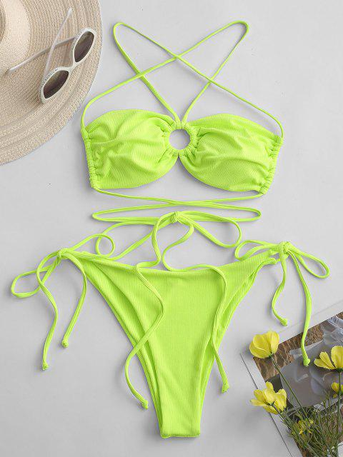 ZAFUL O Ring Gerippter Bikini Badebekleidung mit Hohem Bein - Grün M Mobile