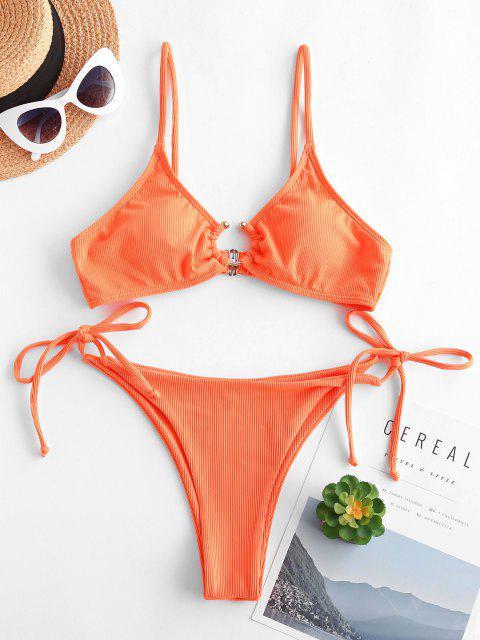 fashion ZAFUL U-bar Ribbed Tie Side Tanga Bikini Swimwear - DARK ORANGE S Mobile