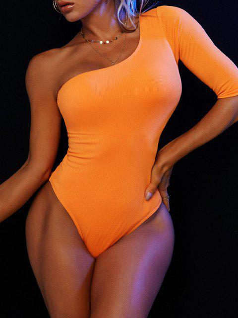 buy ZAFUL One Shoulder Back Cutout Ribbed One-piece Swimsuit - DARK ORANGE S Mobile