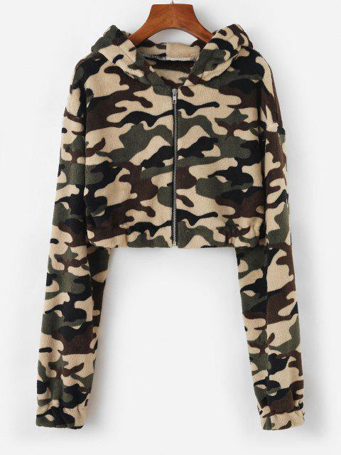 chic Hooded Camo Fleece Crop Jacket - DEEP GREEN L Mobile