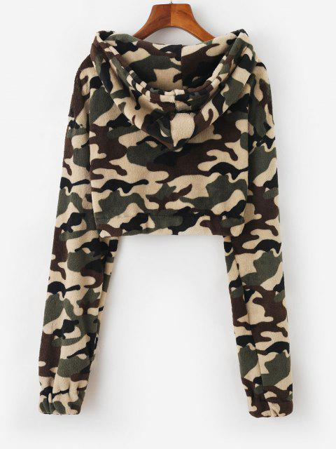 online Hooded Camo Fleece Crop Jacket - DEEP GREEN M Mobile