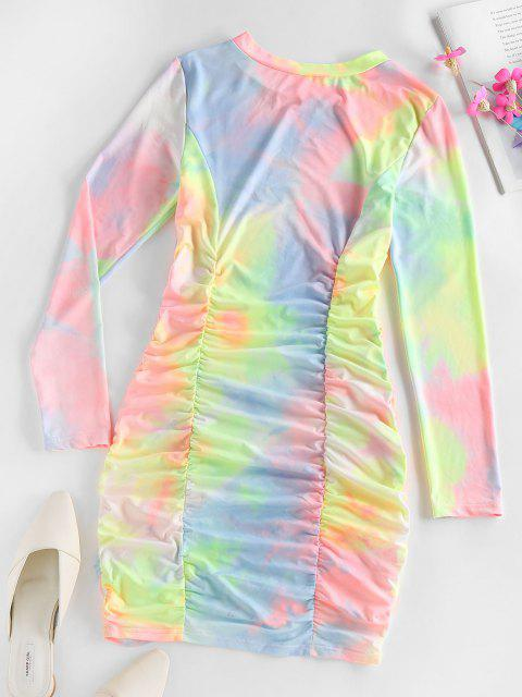 trendy ZAFUL Tie Dye Ruched Bodycon Mini Dress - MULTI M Mobile