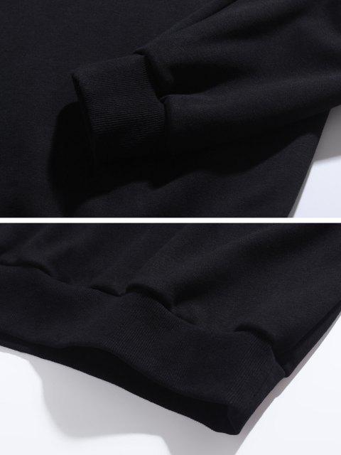 Sweat-shirt Lettre Marguerite Imprimée à Ourlet Côtelé - Noir M Mobile