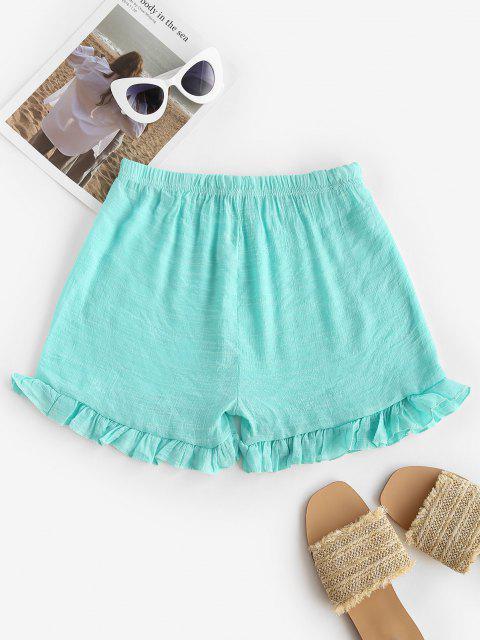 women Semi-sheer Ruffled Beach Shorts - LIGHT BLUE ONE SIZE Mobile