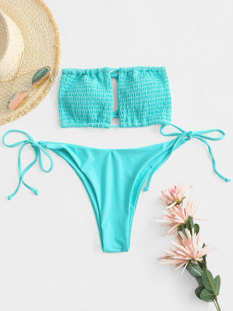 outfits ZAFUL Smocked Cutout Bandeau Thong Bikini Swimwear - BLUE L Mobile