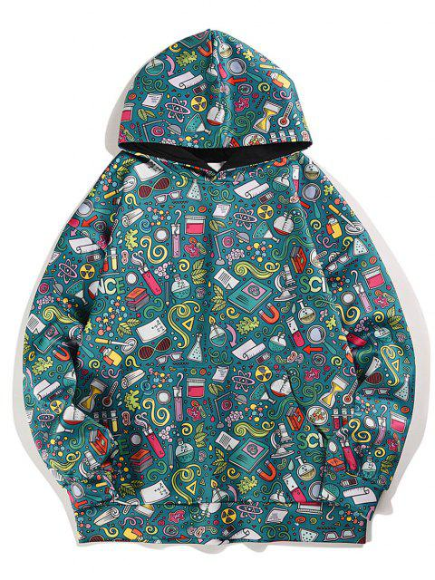 shops Cartoon Seamless Pattern Drawstring Drop Shoulder Hoodie - SEA GREEN L Mobile