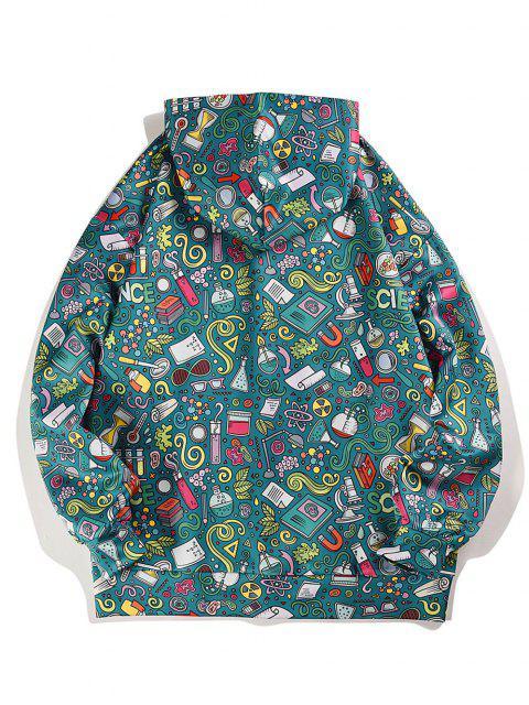 sale Cartoon Seamless Pattern Drawstring Drop Shoulder Hoodie - SEA GREEN M Mobile