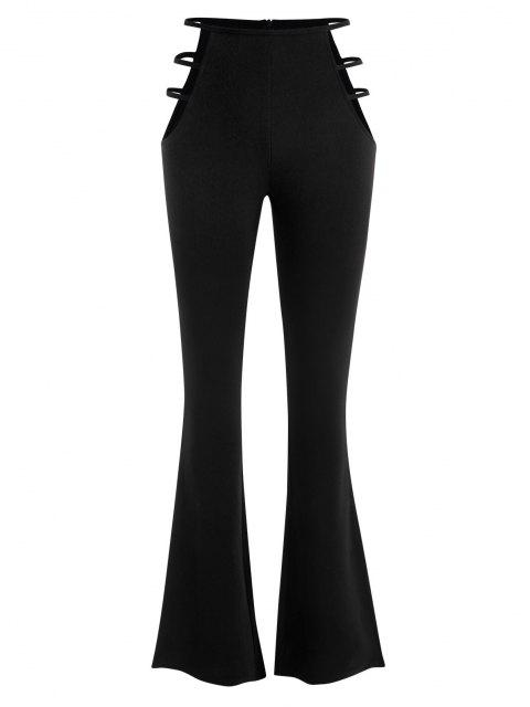 women Ladder Cutout Waist Textured Bootcut Pants - BLACK S Mobile