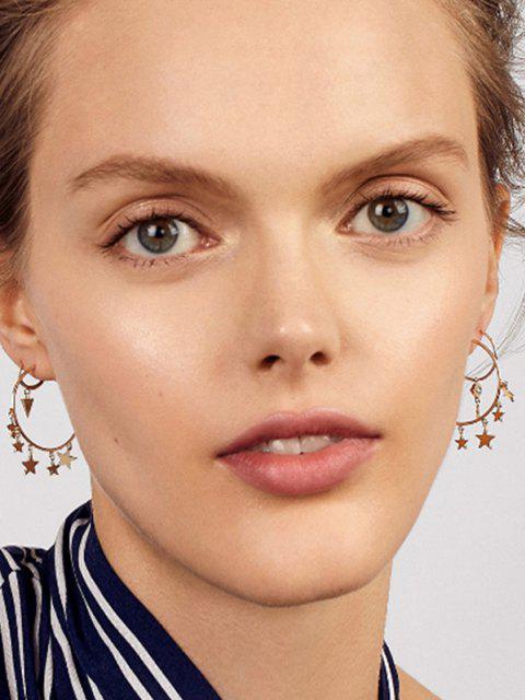 new Stars Eye Shape Hoop Earrings Set - GOLDEN  Mobile