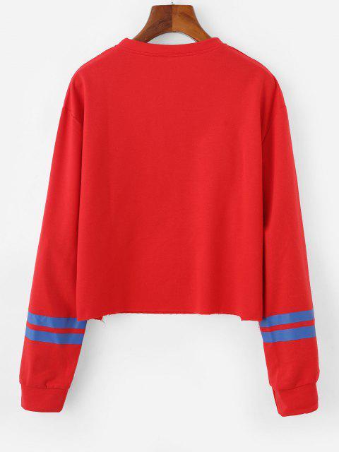 Sweat-shirt Lettre Graphique Raué en Jersey à Ourlet Brut - Rouge M Mobile