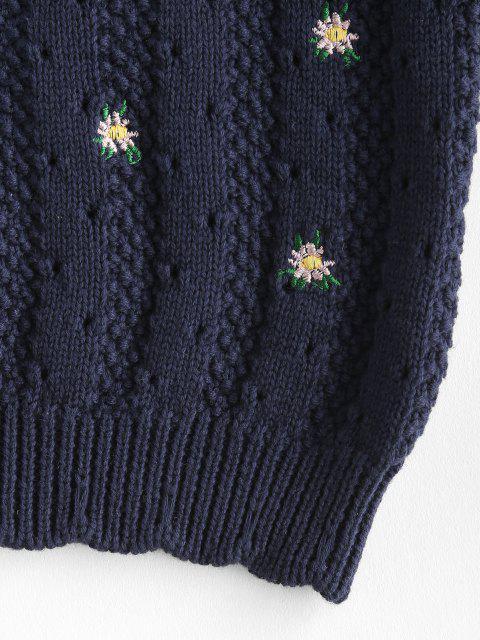Haut Bandeau Fleuri Brodé en Tricot - Bleu profond M Mobile