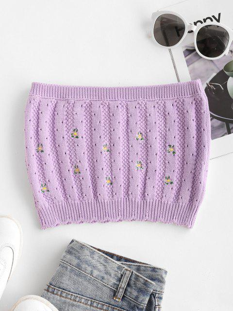 outfits Ditsy Floral Embroidered Pointelle Knit Bandeau Top - LIGHT PURPLE M Mobile
