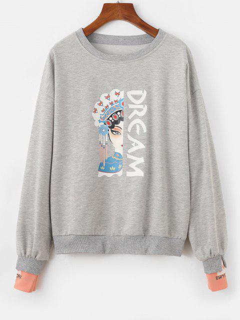 Chinoiserie Peking Opera Graphic Marled Sweatshirt - اللون الرمادي حجم واحد Mobile
