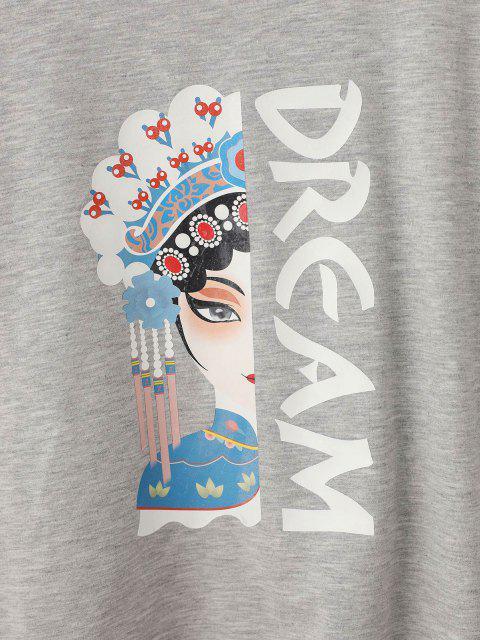 shops Chinoiserie Peking Opera Graphic Marled Sweatshirt - GRAY ONE SIZE Mobile