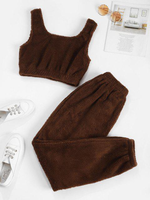 womens Lounge Fluffy Two Piece Pants Set - DEEP COFFEE XL Mobile