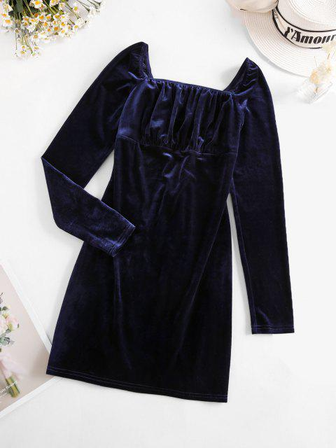 new ZAFUL Lace Up Ruched Bust Velvet Mini Dress - DEEP BLUE M Mobile