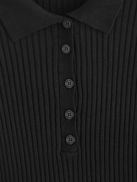 Tricô de gola lapela com nervuras - Preto S Mobile