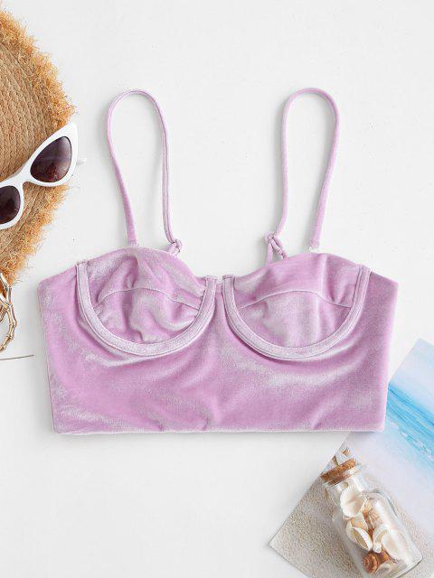 chic ZAFUL Underwire Velvet Bustier Bikini Top - LIGHT PURPLE M Mobile